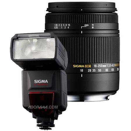 Sigma 18-250mm f/3.5-6.3 DC Macro OS HSM Zoom Lens for Canon EOS Digital SLR Cameras, U.S.A Warranty - Bundle - with Sigma EF-610 DG ST Flash for EOS