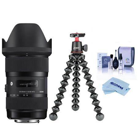Sigma 18-35mm F/1.8 DC HSM ART Lens for Nikon Digital SLR Cameras - Bundle With Joby GorillaPod 3K Kit, Black, Cleaning Kit,...