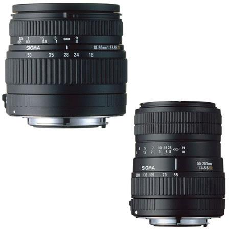 Sigma Digital Twin Zoom Kit with 18mm - 50mm f/3.5-5.6 DC Wide Angle & 55mm - 200mm f/4.0-5.6 DC Telephoto Zoom Lenses for Nikon Digital SLR Cameras. image