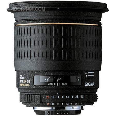 Sigma 20mm f/1.8 EX Aspherical DG DF RF AutoFocus Super Wide Angle Lens with Hood for the Maxxum & Sony Alpha Mount. image