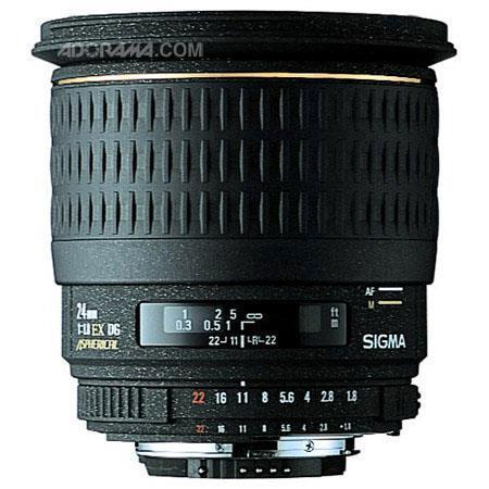 Sigma 24mm f/1.8 EX Aspherical DG DF Macro AutoFocus Wide Angle Lens with Hood for Nikon AF D Cameras image