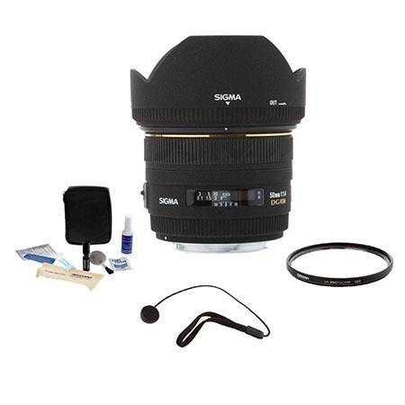 Sigma 50mm f/1.4 EX DG HSM Auto Focus Lens KIT, for Canon EOS Cameras with Tiffen 77mm UV Filter, Lens Cap Leash, Professional Lens Cleaning Kit