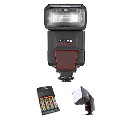 Sigma EF-610 DG Super Shoe Mount Flash for SA-STTL Digital SLR's - Basic Outfit - with 4 NiMH Batteries, Charger, Adorama Mini SoftBox Diffuser