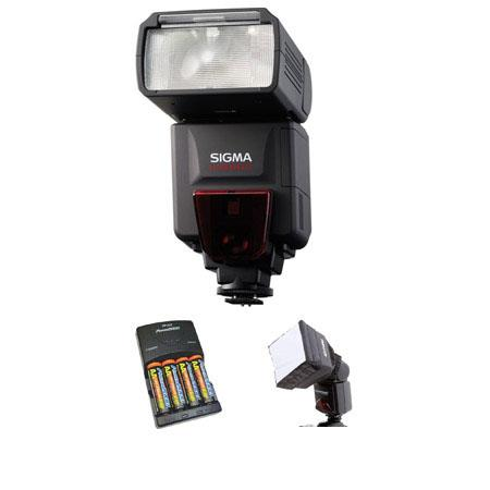 Sigma EF-610 DG ST Shoe Mount Flash for Nikon iTTL Digital SLR's, - Basic Outfit - with 4 NiMH Batteries, Charger, Adorama Mini SoftBox Diffuser