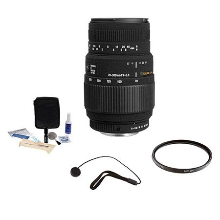 Sigma 70-300mm f/4-5.6 DG Macro Tele Zoom Lens Kit, for Canon EOS Cameras with Tiffen 58mm UV Filter, Lens Cap Leash, Professional Lens