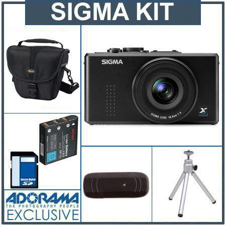 Sigma DP1x Compact Digital Camera Kit - Bundle - 8GB SD Memory Card, Camera Case, Spare Sigme Li-Ion Battery BP-31, USB 2.0 SD Card Reader, Table Top Tripod