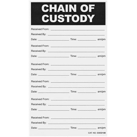 Sirchie Chain Of Custody Labels Set Of 100 Cocl100