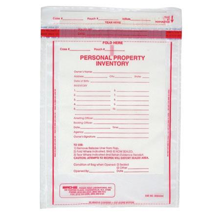 "Sirchie 9x12"" Personal Property Inventory Bag, 500 Each"