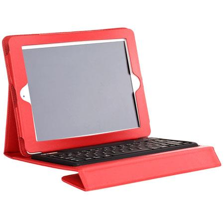 Solid Line RightShift Bluetooth Keyboard & Case for iPad 2 iPad 3 or Any Blue Tooth Enabled Device - Crimson