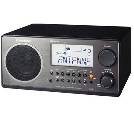 Sangean FM-RDS (RBDS)/AM Wooden Cabinet Table Top Digital Tuning Receiver, Black