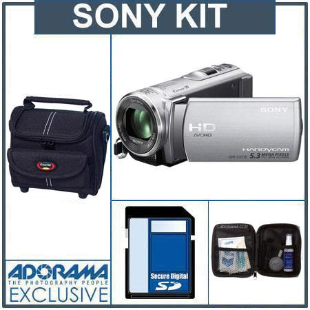 Sony HDR-CX210 HD 8GB Flash Memory Camcorder, Silver - Bundle - with 16GB SD Memory Card, Camcorder Case, Digital Lens Cleaning Kit
