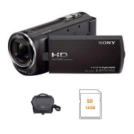 Sony HDR-CX220 Full HD Handycam Camcorder, Black - Bundle - with Sony LCS-U11 System Case,Sony 16GB Class 10 Memory Card,