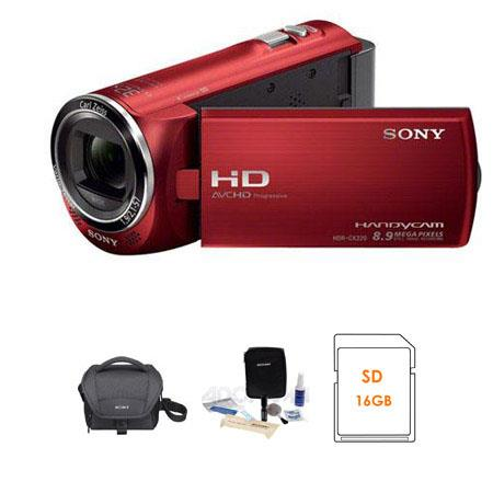 Sony HDR-CX220 Full HD Handycam Camcorder, Red - Bundle - with Sony LCS-U10 System Case, Sony 16GB Class10 Memory Card , Lens Cleaning Kit