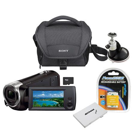 Sony HDR-CX240 Full HD Handycam Camcorder, Black - Bundle With Sandisk 16GB CLS10 UHS-1 Micro SDHC Card, Camcorder Case, Spare Battery, SD Card Memory Wallet, Suction Cup Ball Head
