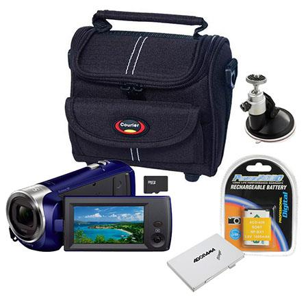 Sony HDR-CX240 Full HD Handycam Camcorder, Blue - Bundle With Sandisk 16GB CLS10 UHS-1 Micro SDHC Card, Camcorder Case, Spare Battery, Slinger 12 card Memory Wallet, Suction Cup Ball Head
