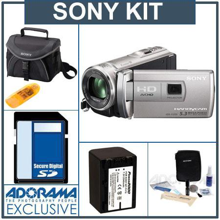 Sony HDR-PJ200 HD Flash Memory Camcorder with Projector, Silver - Bundle - with Sony SDHC 16GB Class 10 Memory Card, Sony LCS-X20 Shoulder Case, Power2000 ACD77