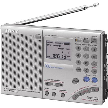 Sony ICF-SW7600GR FM Stereo Multiband Shortwave World Band Receiver Radio with Single Side Band Reception, 100 Station Presets, Earphone Jack - Silver