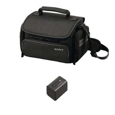 Sony Sony NP-FV100 Rechargeable Camcorder Battery Pack for V Series, 3900mAh - Bundle- with Sony LCS-X20 General Camcorder Nylon Shoulder Carrying Case for a Small System - Black