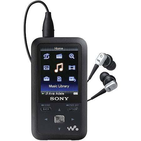 Sony NWZ-S718FBNC 8 GB Noise Canceling Walkman Video MP3 Player, In-built FM Tuner, Headphone Extension Cord with USB Cable, Black image