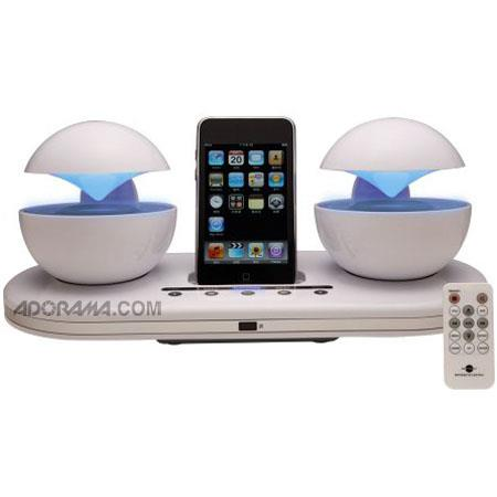 Speakal iCrystal Stereo iPod Docking Station with 2 Speakers - White image
