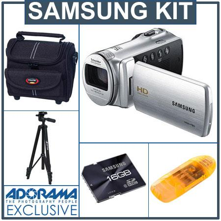 Samsung HMX-F80 Flash Memory Camcorder - Bundle - with 16GB Class 10 SDHC Card, VidPro Carrying Case, Aiptek Aluminum Tripod, USB 2.0 Card Reader