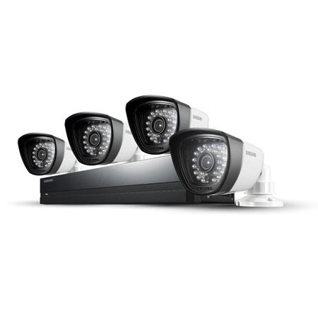 Samsung SDS-P4042 4 Camera 8 Channel 960H DVR Security System with Built-in 500GB HDD, 720 TVL High Resolution, 28 IR LEDs with 82' Night Vision Range