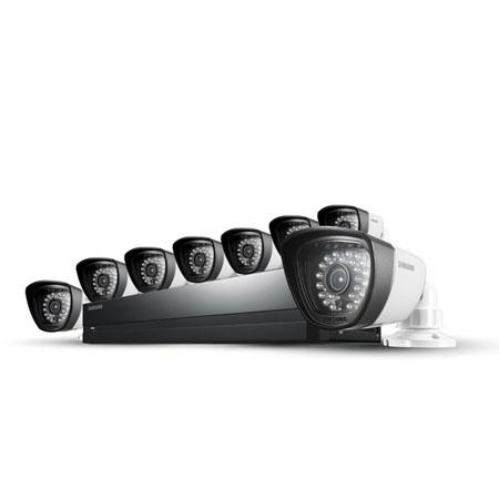 Samsung SDS-P4082 8 Camera 8 Channel 960H DVR Security System with Built-In 500GB HDD, 720 TVL High Resolution, 28 IR LEDs with 82' Night Vision Range