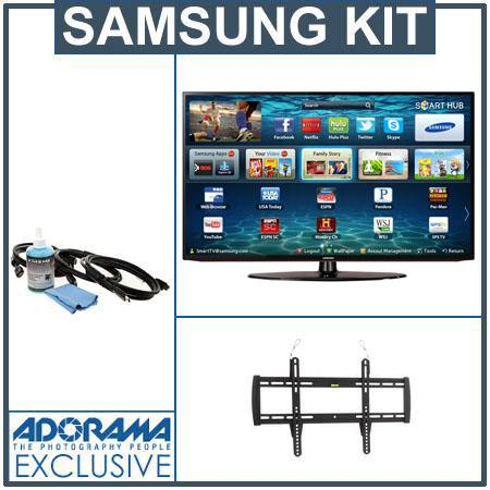 "Samsung 46"" Class 1080p LED HDTV, Wi-Fi Built-in - Bundle - with Xtreme Cable HDMI 3D HDTV Hook Up Kit and Flashpoint Flat Panel Display TV Wall Mount"