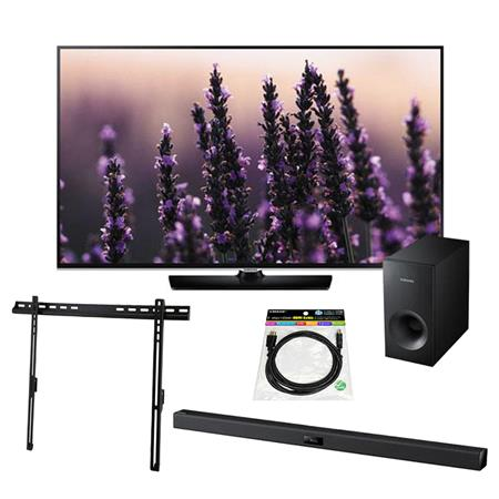 """Samsung H5500 Series 50"""" Class Full HD 1080p Smart LED TV, - Bundle With Samsung HW-F355 Samsung HW-F355ndbar System with Subwoofer, Tilting TV Wall Mount for 32-65"""" Displays, HDMI Mini Cable 6'"""