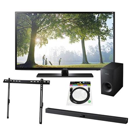 "Samsung H6203 50"" Full HD Smart LED TV   Bundle With Samsung HW F355 2.1 Channel Soundbar System with Subwoofer, Tilting TV Wall Mount for 32 65"" Displays, HDMI Mini cable 6'"