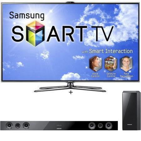 "Samsung 60"" Class Full HD 3D Slim LED HDTV 1080p with 4 3D Glasses, - Bundle - with Samsung HW-E450 2.1-Channel Soundbar with Wireless Subwoofer"