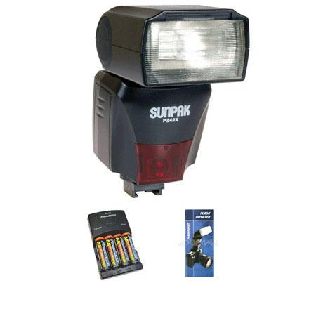 Sunpak PZ42XC Digital Flash for Canon E-TTL II, Basic Outfit with 4 NiMH Batteries, Charger, Flashpoint Flash Diffuser