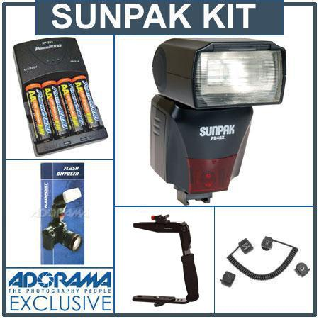 Sunpak PZ42XN Digital Flash for Nikon I-TTL, Black - Deluxe Outfit - with 4 NiMH Batteries, Charger, Flash Diffuser, Flashpoint Quick Flip Flash Bracket, Off-Ca