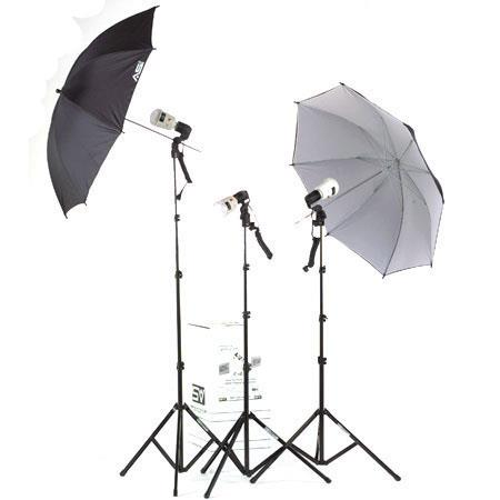 Smith Victor KF3U 3 Light, AC Slave / Master Flash, Thrifty Umbrella Flash Kit