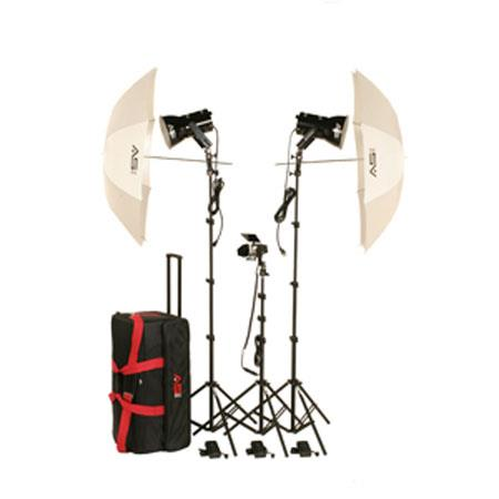 "Smith-Victor KQ84 3 Light Ultra Quartz Location Light Kit with Accent Light, 45"" White Umbrella (45W)"