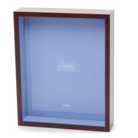 """Swing 8"""" x 10"""" Walnut Shadow Box Picture Frame with Chroma Sail Blue Interior. image"""