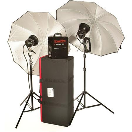Speedotron Explorer Battery Operated 2 Light Kit,with Explorer 1500, 2 Flash Heads, Stands, Umbrellas & Case