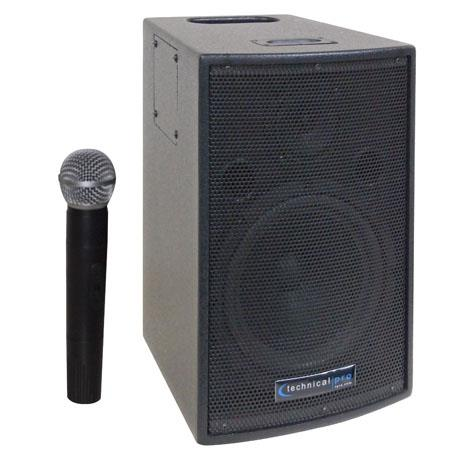 Technical Pro WASP500 8'' Rechargeable Battery Powered PA System with Wireless VHF Microphone, Black