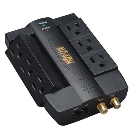 Tripp Lite HTSWIVEL6 Home & Business Theater Surge Suppressor with 6 Outlets & 1200 Joule Rating