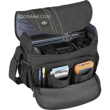 """Tamrac 3445 Rally 5 Camera/Netbook/iPad Bag for DSLR with 6"""" Lens Attached, Extra Lens and Flash, Black"""
