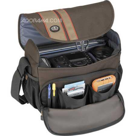 """Tamrac 3445 Rally 5 Camera/Netbook/iPad Bag for DSLR with 6"""" Lens Attached, Extra Lens and Flash, Brown/Tan"""