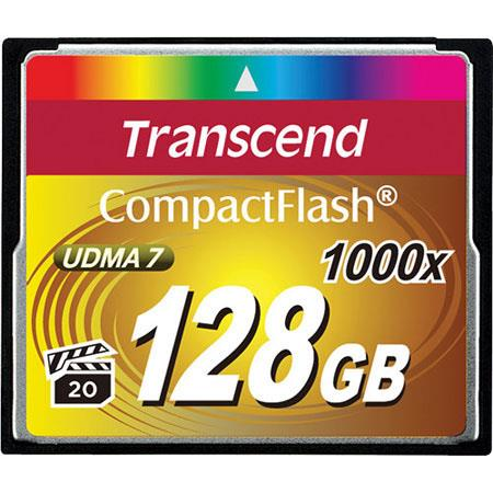 Transcend 128GB Ultimate 1000x CompactFlash Memory Card for DSLR Cameras/Camcorders, 160/120 MB/s Read/Write Speed, UDMA 7