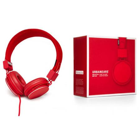 Urbanears Plattan Plus Folding Classic Full Size On-Ear Stereo Headphones with volume control for Apple iPod/iPhone/iPad, Red