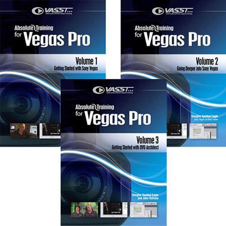 Vasst Absolute Training DVD for Sony Vegas + DVD, Volume 1-3 Set (1-Vegas, 2-Deeper into Vegas, 3-DVD Architect) English & Spanish