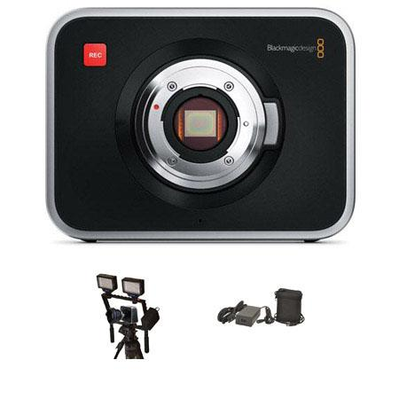 Blackmagic Design Cinema Camera with EF Mount - Bundle - with Bescor Dual LED-70 Light Package, Bescor Extended Camera Battery & Charger