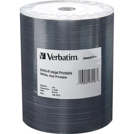 Verbatim DVD-R, 4.7 GB 16x DataLifePlus, White Inkjet Printable, Hub Printable, 100 Pack on Spindle