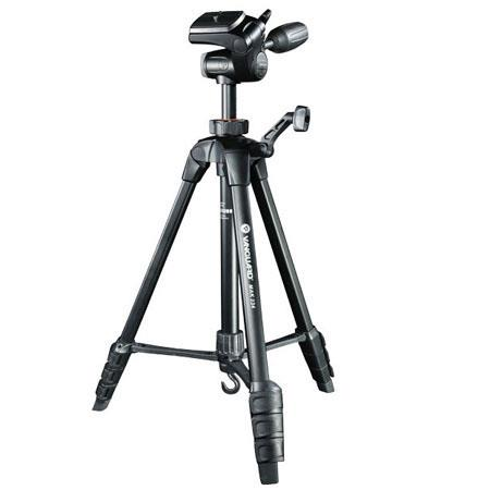 Vanguard MAK 234 Aluminum Alloy 4 Section Tripod with 3 Way Pan Head, Bubble level, Quick-Flip Leg Locks, Load Capacity 6.6 lb