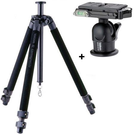 Velbon GEO E630 3-Section Carbon Fiber Tripod Legs, Black, Supports 13.2 lbs., With Velbon QHD-61Q Heavy Duty Magnesium Ball Head with Quick Release,