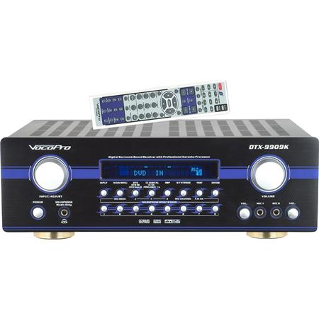 VocoPro DTX-9909K 700W MAX 7.1 Surround Sound Receiver with Professional Vocal DSP Processing, Digital AM/FM Tuner, Two Mic Inputs & Separate Volume Control