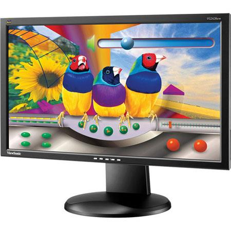 "ViewSonic VG2428wm 23.6"" Widescreen LCD Computer Display, 1920 x 1080 Resolution, 1000:1 Contrast Ratio, 5ms Response Time, 15-Pin Mini D-Sub/DVI-D"